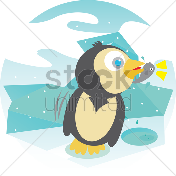 a penguin catching fish vector graphic