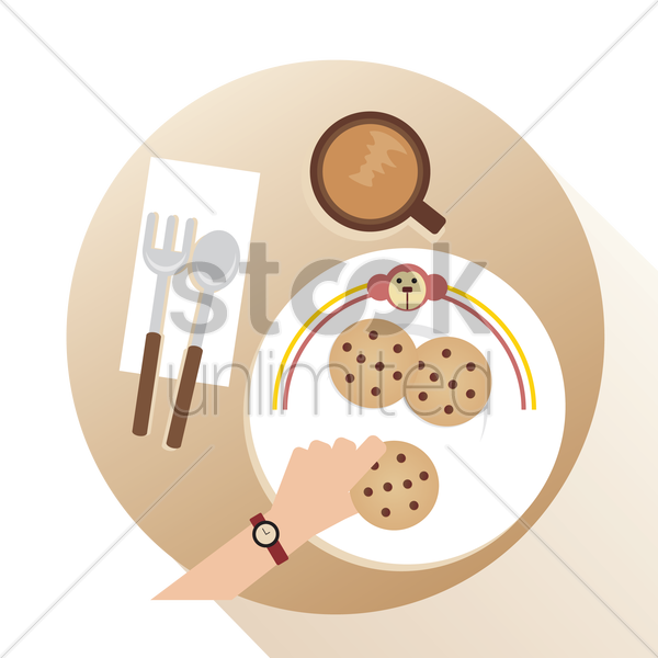 Free a plate with coffee vector graphic