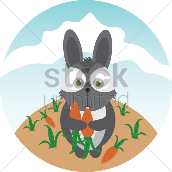 a rabbit and carrots vector graphic
