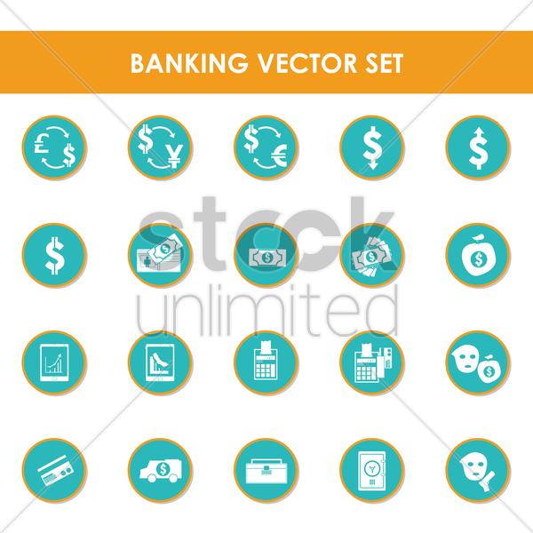 a set of banking items vector graphic