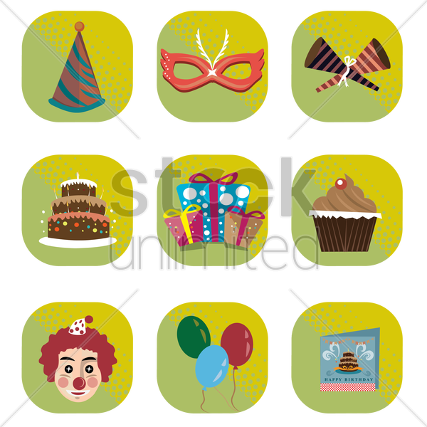 Free a set of birthday icons vector graphic