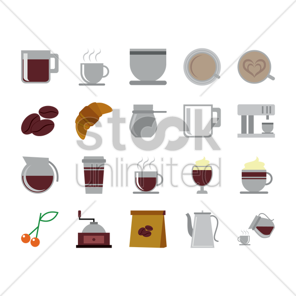 a set of coffee related items vector graphic