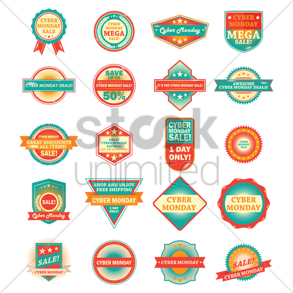 a set of cyber monday labels vector graphic