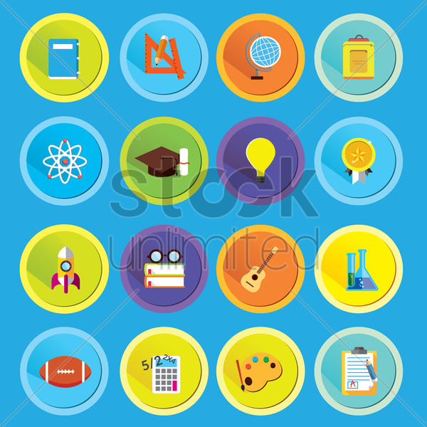 a set of education icons vector graphic