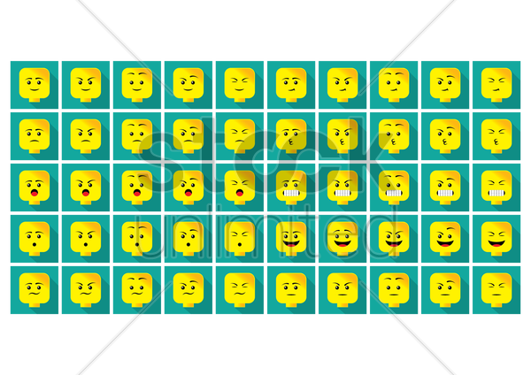 a set of emoticon showing various facial expressions vector graphic