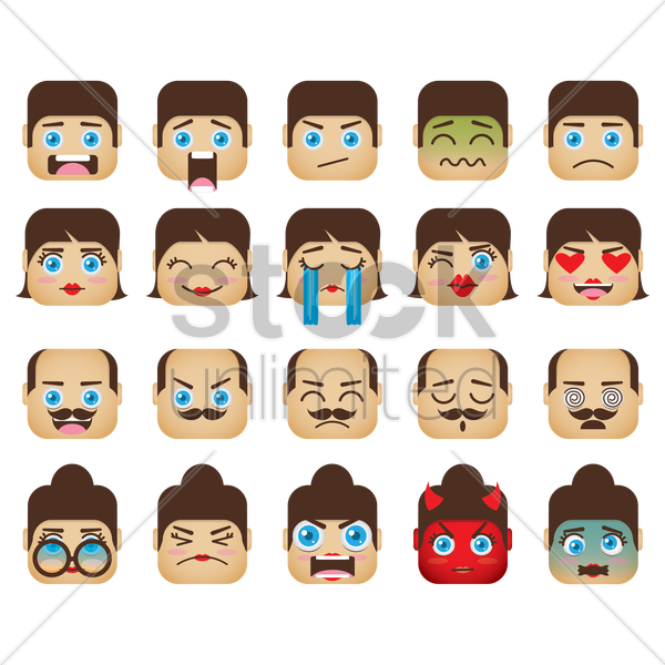 a set of family emoticon showing various facial expressions vector graphic