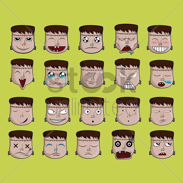a set of frankenstein emoticon showing various facial expressions vector graphic