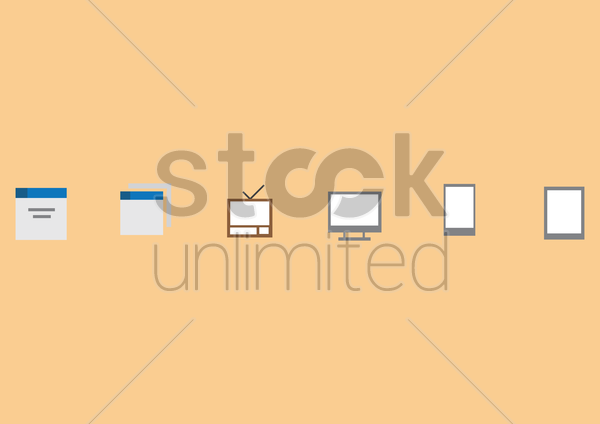Free a set of gadgets icons vector graphic