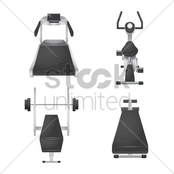 a set of gym equipment vector graphic