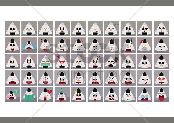 a set of japanese rice balls emoticon showing various facial expressions vector graphic