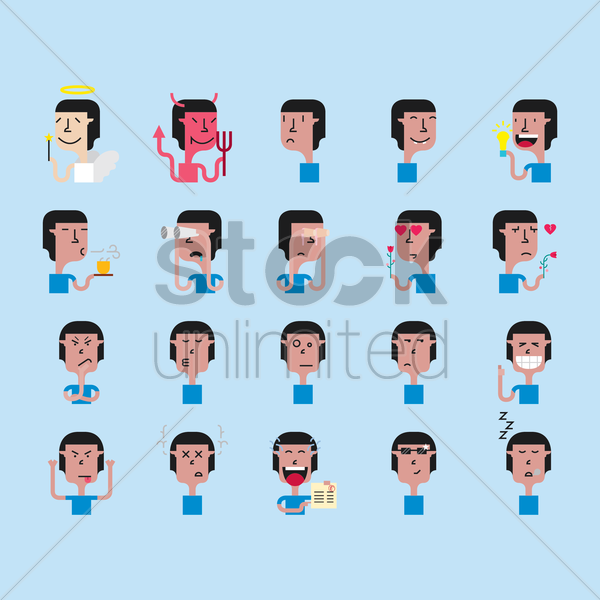 a set of male emoticon showing various facial expressions and actions vector graphic