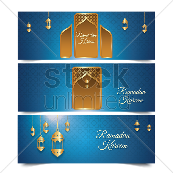 a set of ramadan kareem greetings vector graphic