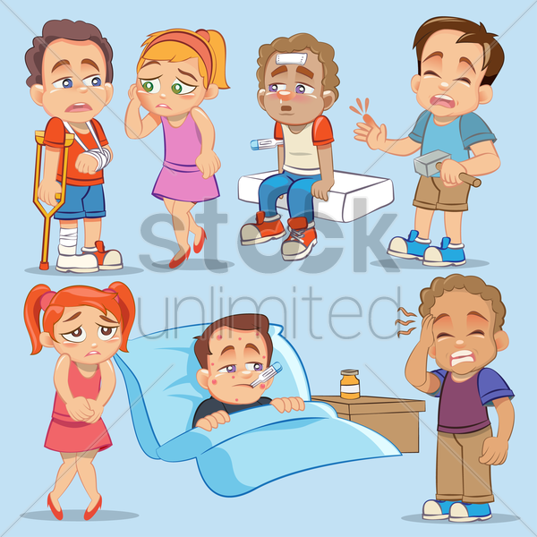 a set of sick or injured kids vector graphic