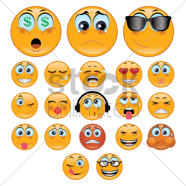 a set of smiley emoticon showing various facial expressions vector graphic