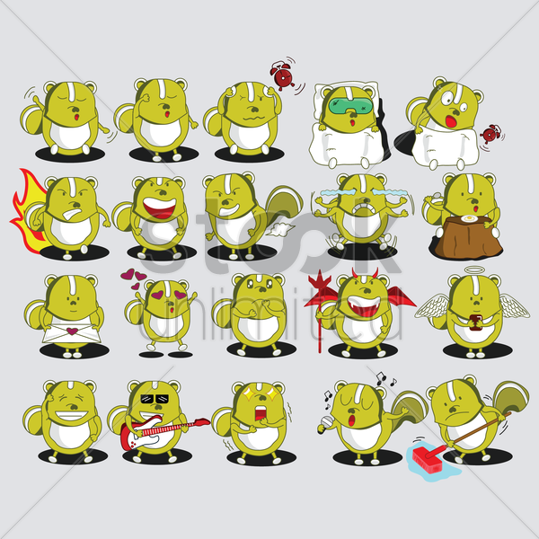 a set of squirrel emoticon with various actions and emotions vector graphic