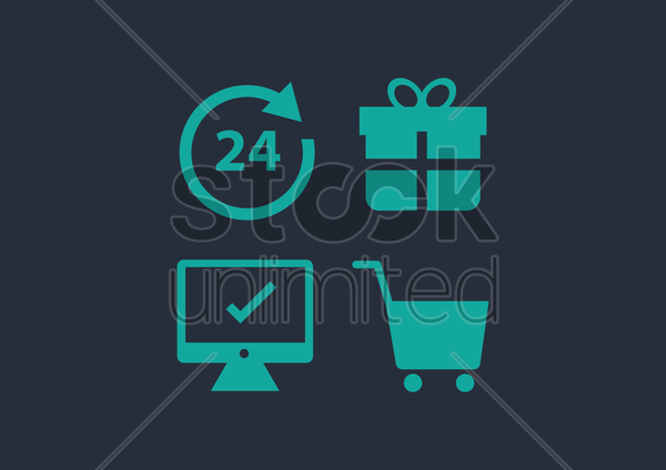 a set of supermarket icons vector graphic