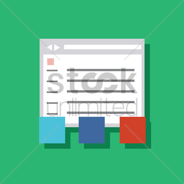 a software window with sticky notes vector graphic
