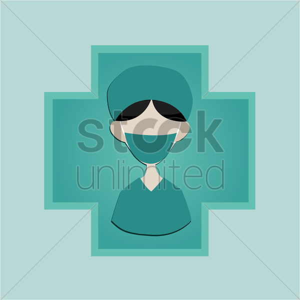 Free a surgeon on a cross vector graphic