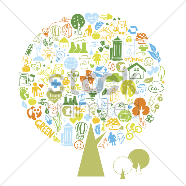 a tree of illustrated recycling icons vector graphic