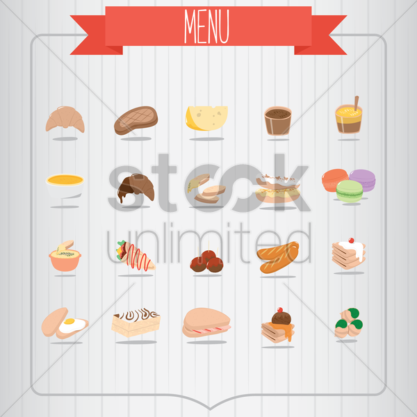 a variety of food items vector graphic