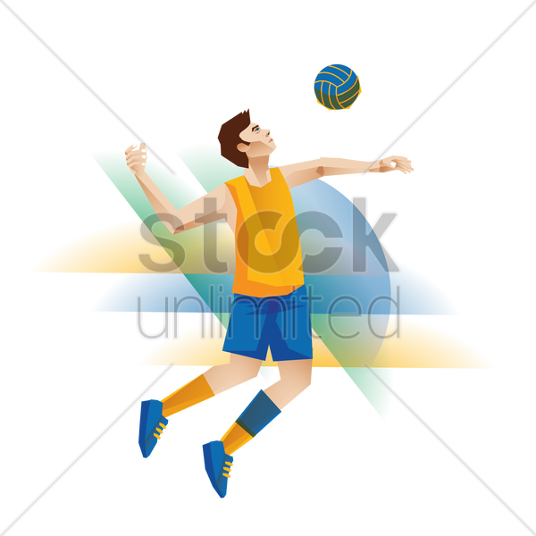 a volleyball player in action vector graphic