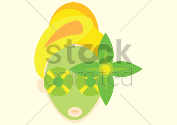 a woman with facial mask vector graphic