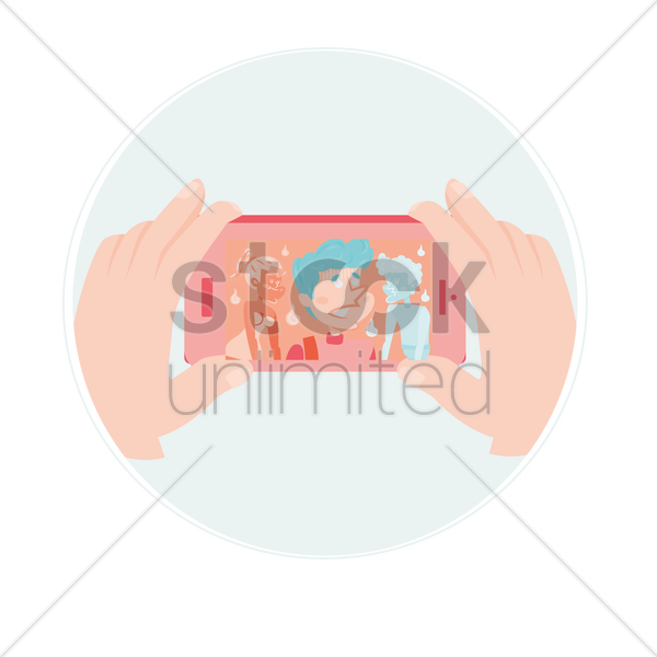 a young boy taking a selfie vector graphic
