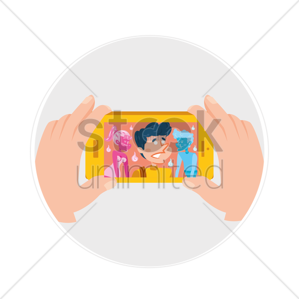 Free a young man taking a selfie vector graphic