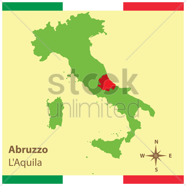 abruzzo on italy map vector graphic