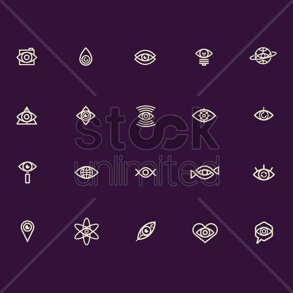 abstract eye icon collection vector graphic