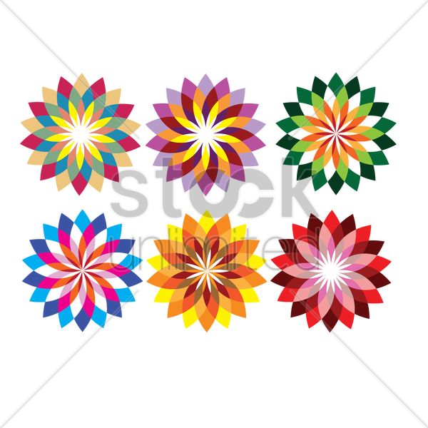 Abstract flower designs Vector Image - 1483964 ...