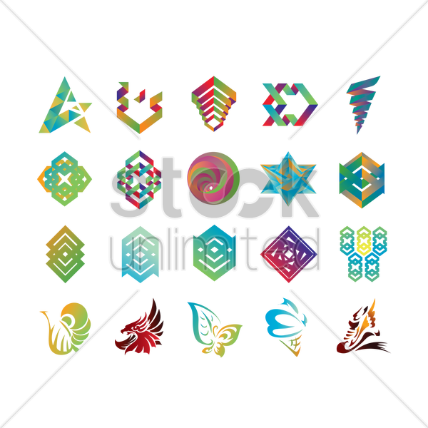 abstract icon collection vector graphic