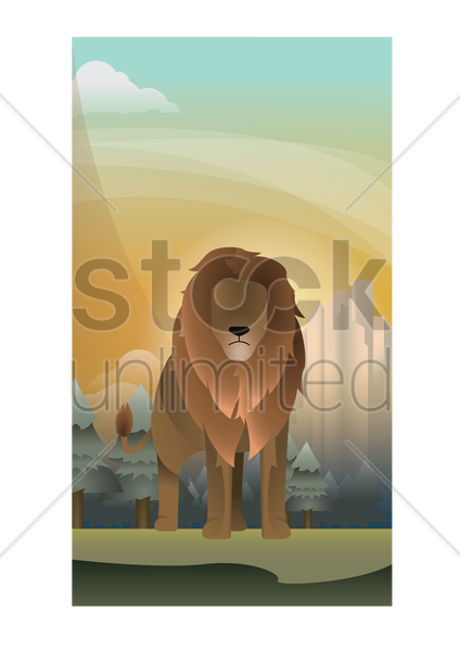 abstract lion on forest background vector graphic