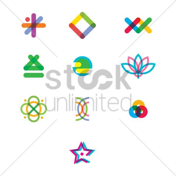 abstract logo element set vector graphic
