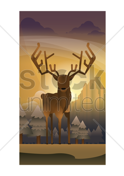abstract stag on forest background vector graphic