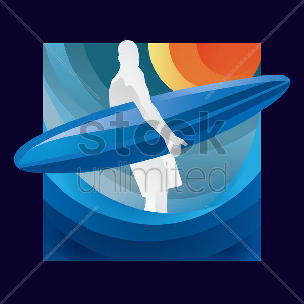 abstract surfer with board vector graphic