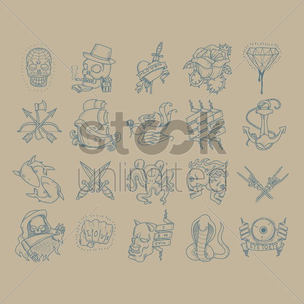 abstract tattoo set vector graphic