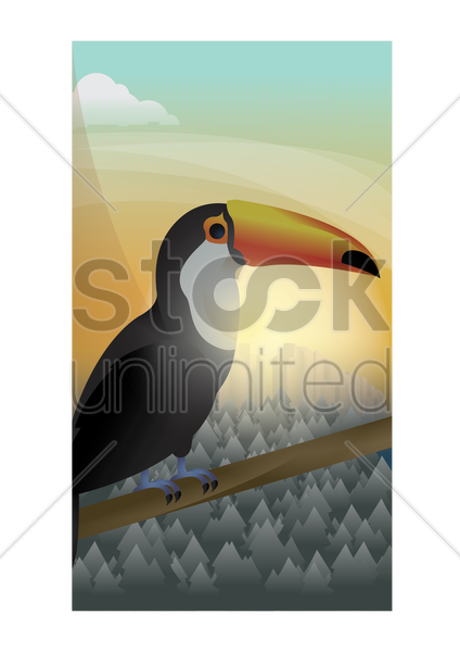abstract toco toucan on forest background vector graphic