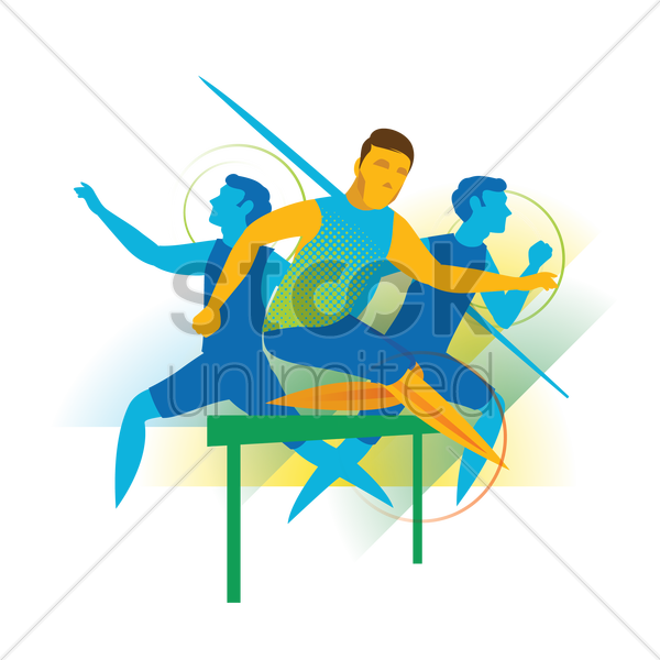 active athletes in action vector graphic