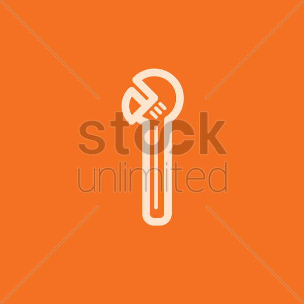 adjustable wrench vector graphic