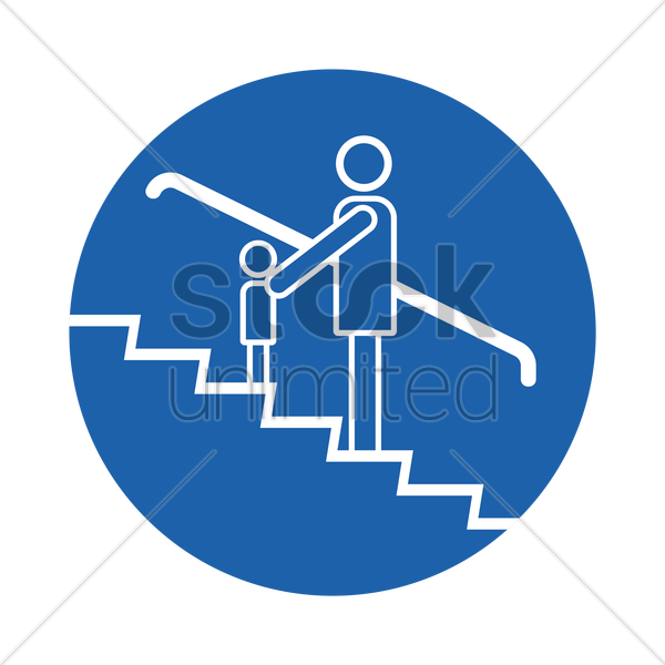 adult and children on escalator vector graphic