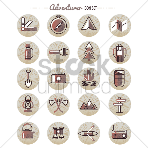 adventurer icon set vector graphic