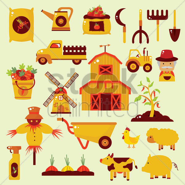 agricultural collection vector graphic