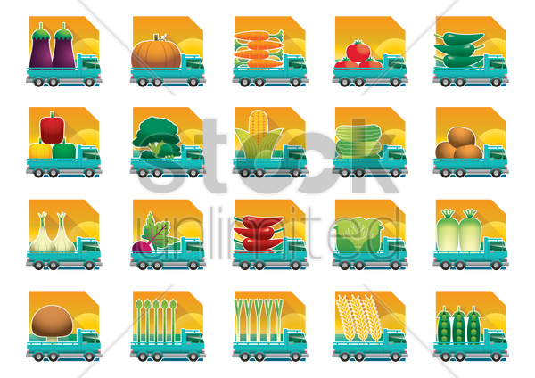 agricultural delivery icons vector graphic
