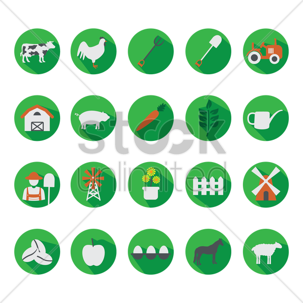 agricultural icons vector graphic