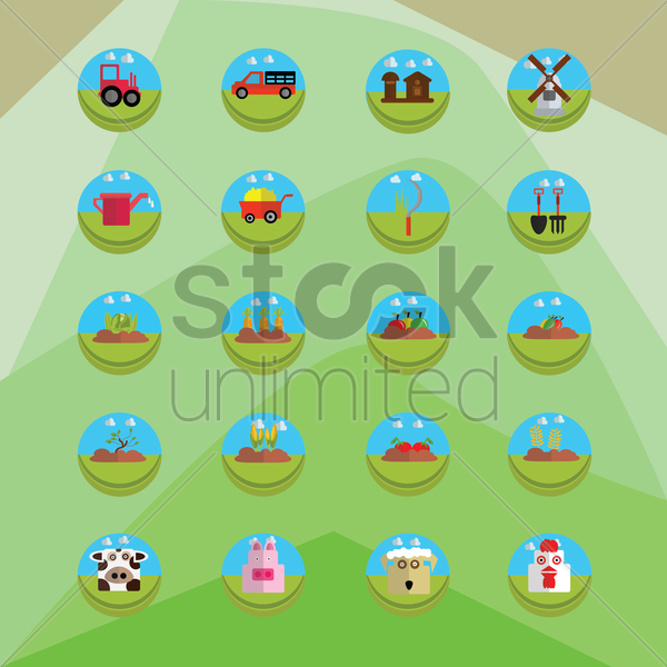 agricultural set vector graphic