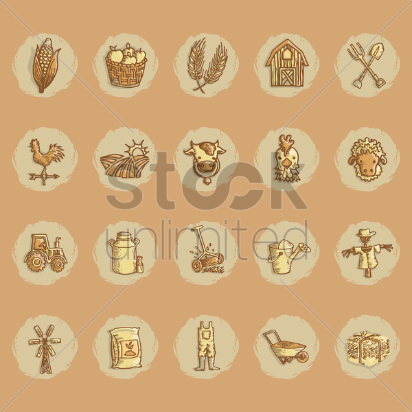 agriculture icon collection vector graphic