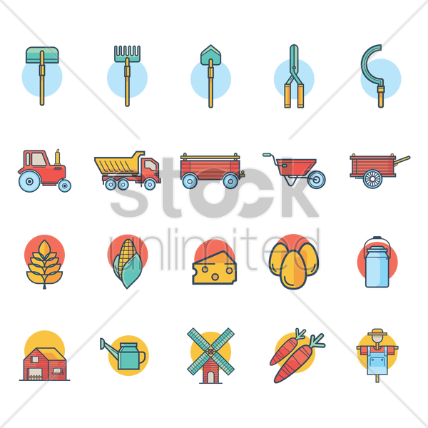 agriculture icon set vector graphic