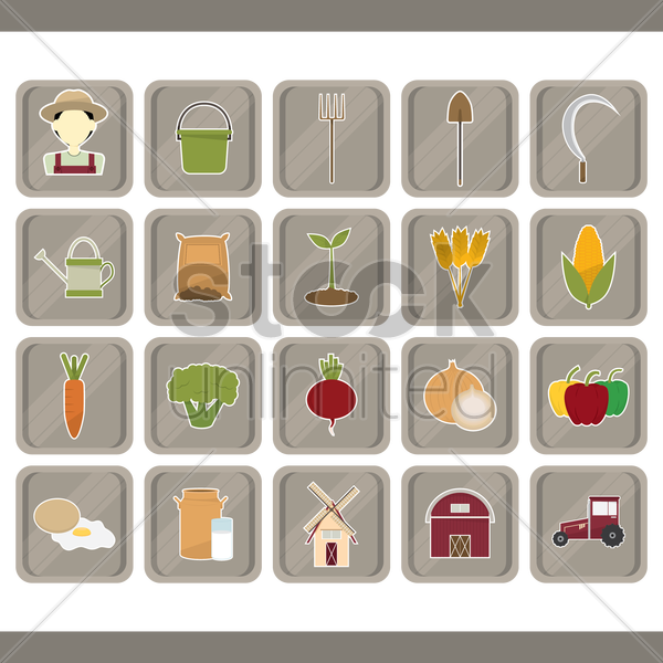 agriculture set vector graphic