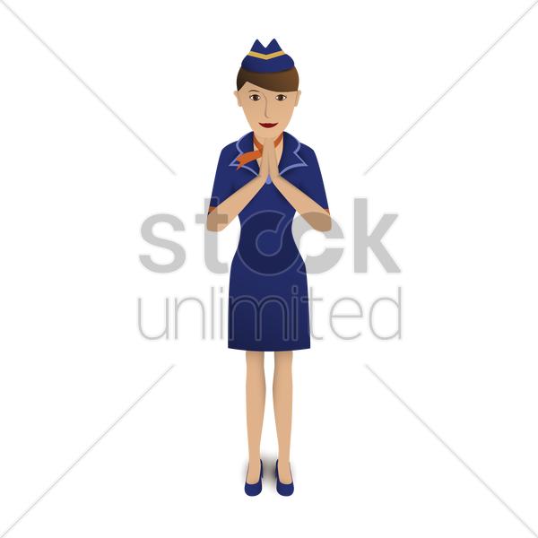 air hostess greeting vector graphic